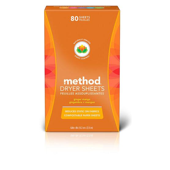 Method Dryer Sheets - Ginger Mango - 80's