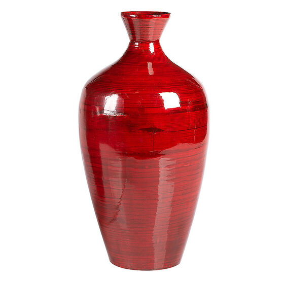 London Drugs Spun Bamboo Vase - Red