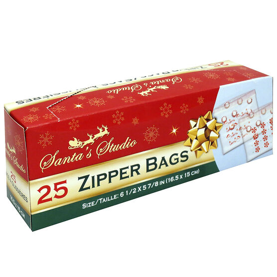 Christmas Zipper Bags - 25 pack