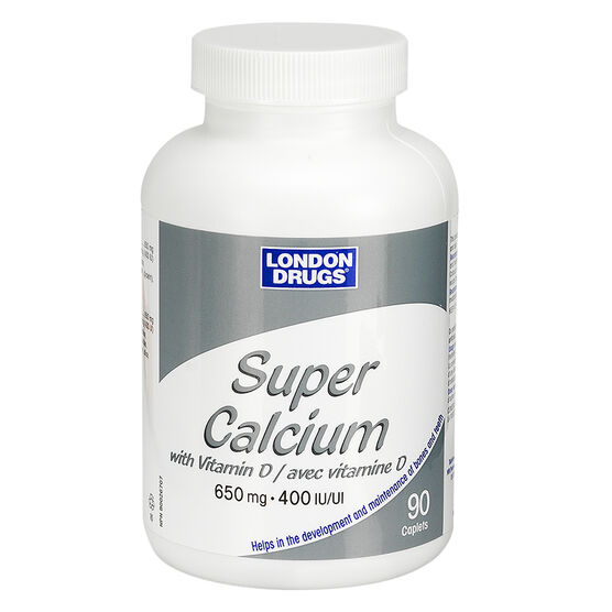 London Drugs Super Calcium with Vitamin D - 650mg/400iu - 90's