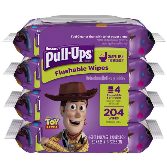 Pull-Ups Big Kid Flushable Wipes in Pouch - 4 pack