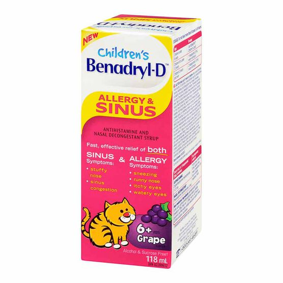 Benadryl-D Kids Allergy & Sinus Liquid - 118ml