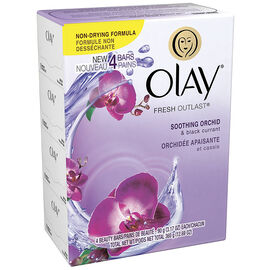 Olay Fresh Outlast Beauty Bar - Soothing Orchid & Black Current - 4 x 90g