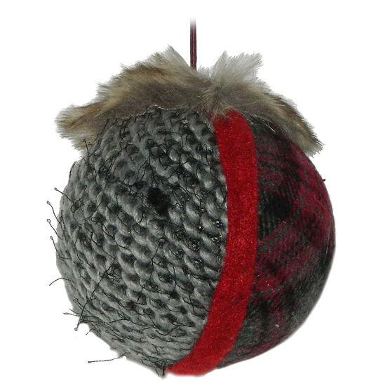 Christmas Forever Plaid Yarn Ball Ornament - Red/Grey - XM-KE1118