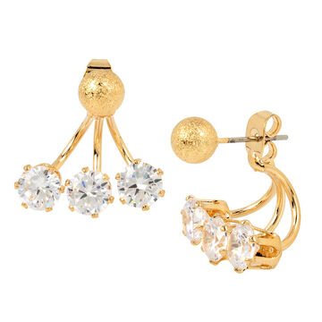 Haskell Crystal Front Back Earrings - Crystal/Gold