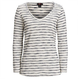 Lava Stripe V-Neck Sweater - Navy