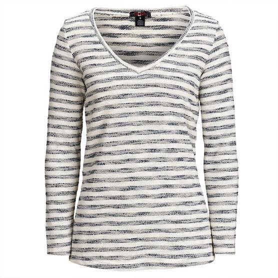 Lava Stripe V-Neck Sweater - Navy