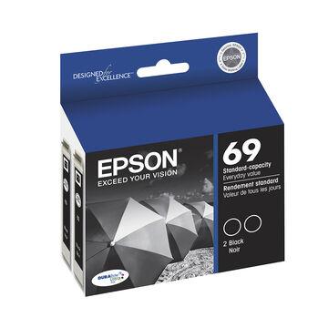 Epson 69 Durabrite Ultra Ink 69 Standard-Capacity Ink Cartridge - Black Dual-pack - T069120-D2