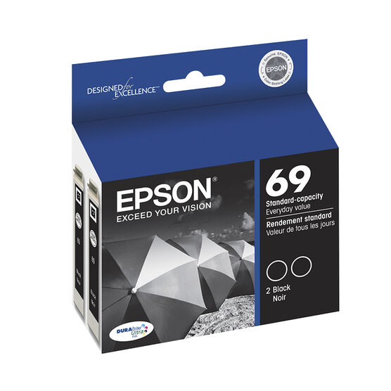 Epson 69 Durabrite Ultra Ink 69 Standard-Capacity Ink Cartridge - Black Dual-pack - T069120-D2