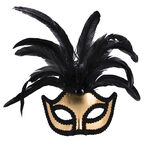 Halloween Half-Mask with Feathers