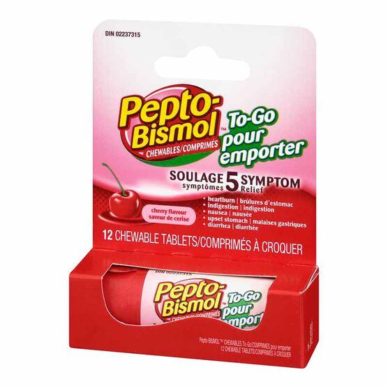 Pepto Bismol Chewable To Go - Cherry - 12's
