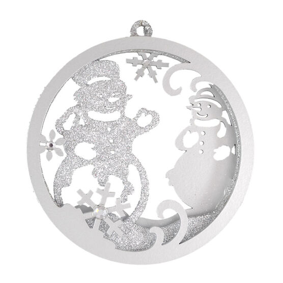 Christmas Forever Glitter Snowman Wreath Ornament - 4in - Silver - XM-MS1332