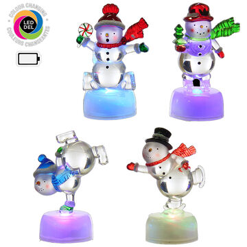 Winter Wishes LED Colour Snowman - 4 inch - Assorted