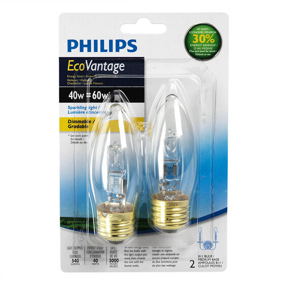 Philips Ecovantage B10 Chandelier Light Bulb - 2 pack