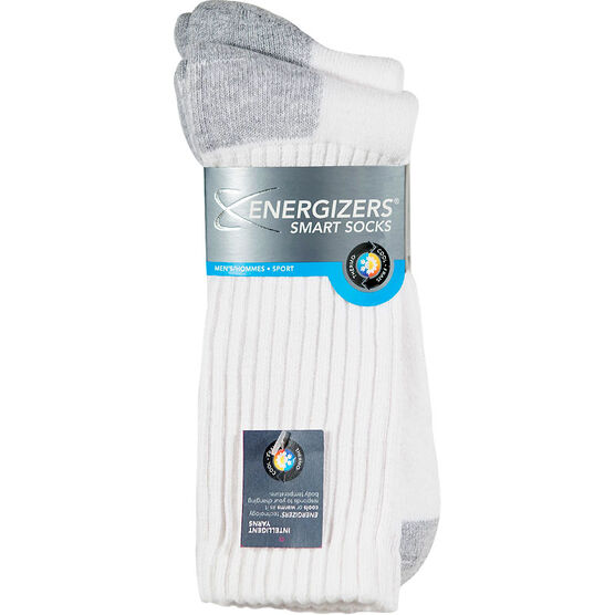 Energizers Crew Smart Sport Socks - Mens - White/Grey - 2 pair