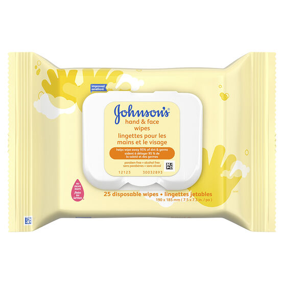 Johnson & Johnson Hand & Face Wipes - 25's