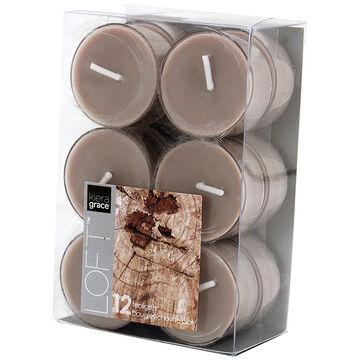 Kiera Grace Loft Tealights - Teakwood - 12 pack