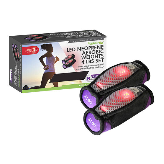 PurAthletics LED Neoprene Aerobic Weights - 4lbs Set