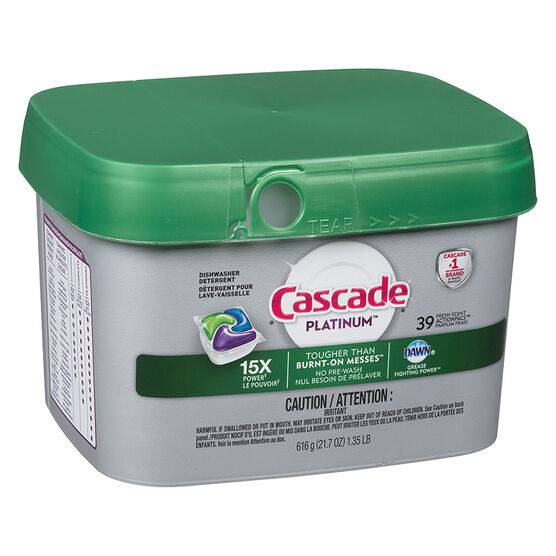 Cascade Platinum Action Pacs Dishwasher Detergent - Fresh Scent - 39's