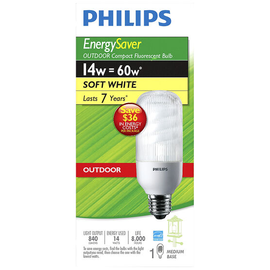 Philips 14W Soft White Outdoor Compact Fluorescent Light Bulb