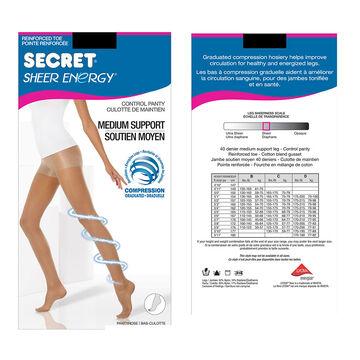 Secret Slimmers Active Leg Pantyhose - B - Black