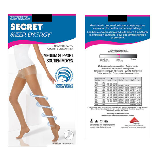 Secret Slimmers Active Leg Pantyhose - B - Black