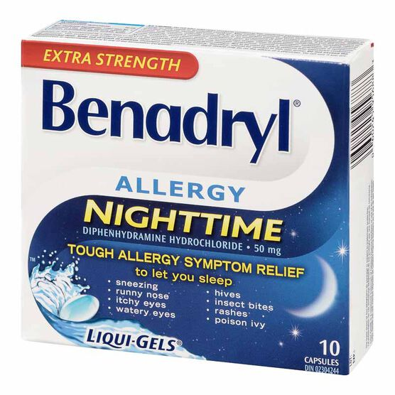 Benadryl Extra Strength Allergy Nighttime Liqui-Gels - 50mg - 10's