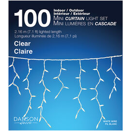 Danson Mini Curtain Light Set - 100 lights - Clear - X77061