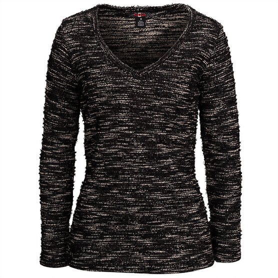 Lava Shinny V-Neck Sweater - Black