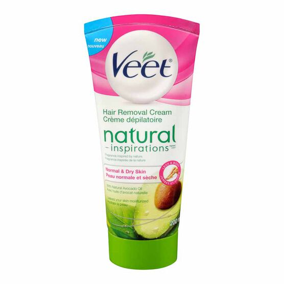 Veet Natural Inspirations Hair Removal Cream Legs and Body  - Normal and Dry Skin  - 200ml