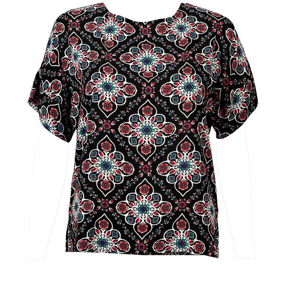Lava Short Sleeve Printed Blouse - Black - Assorted
