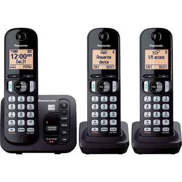 Panasonic Dect 3 Handset with Caller ID and Answering Machine - Black - KXTGC223B
