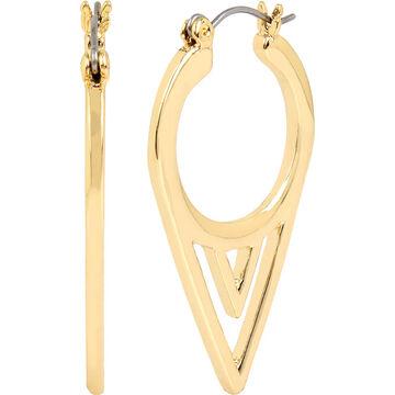 Haskell Triangular Hoop Earrings - Gold