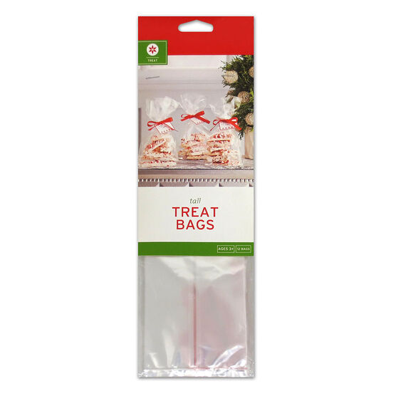 Christmas Cellophane Treat Bags - 12 pack