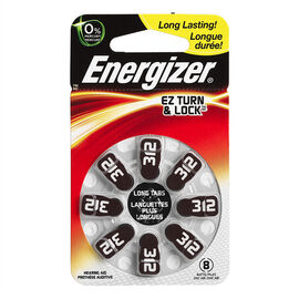 Energizer Lock & Turn Hearing Aid Batteries - AZ312DP-8 - 8 pack