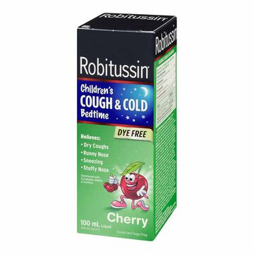Robitussin Children's Cough & Cold Bedtime - Dye Free Cherry - 100ml