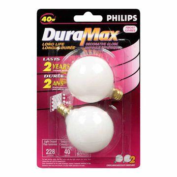 Philips DuraMax G16 40W Decorative Globe Light Bulb - White - 129361