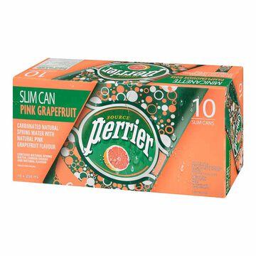 Perrier Slim Can - Pink Grapefruit - 10 pack