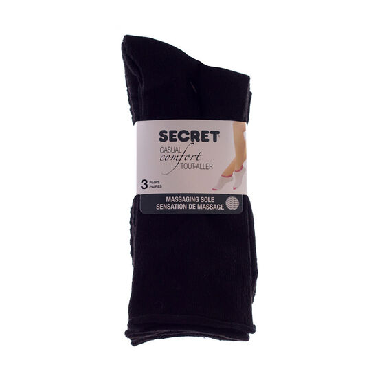 Secret Massaging Comfort Crew Socks - Black - 3 Pairs