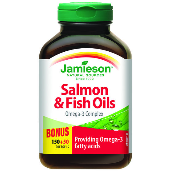 Jamieson salmon fish oils omega 3 complex 1 000 mg 150 for Fish oil for add