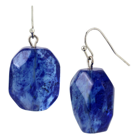 Haskell Nugget Earrings - Blue/Rhodium