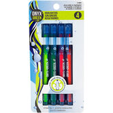 Onyx + Green Chisel Tip Highlighters - 4 pack