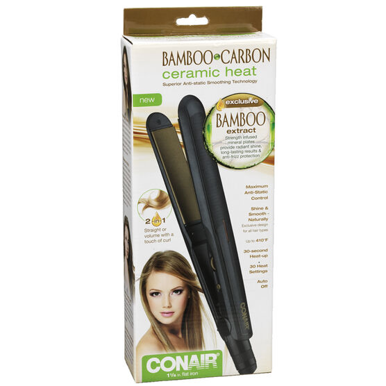 Conair Bamboo Carbon Ceramic Heat Flat Iron - 1 1/2 inch - CS92C