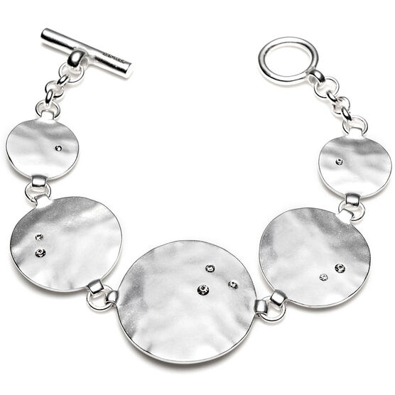 Kenneth Cole Hammered Disc Bracelet - Silver Tone