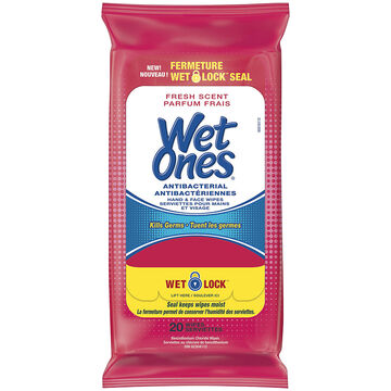 Wet Ones Anti-Bacterial Hand & Face Wipes - Fresh Scent - 20's