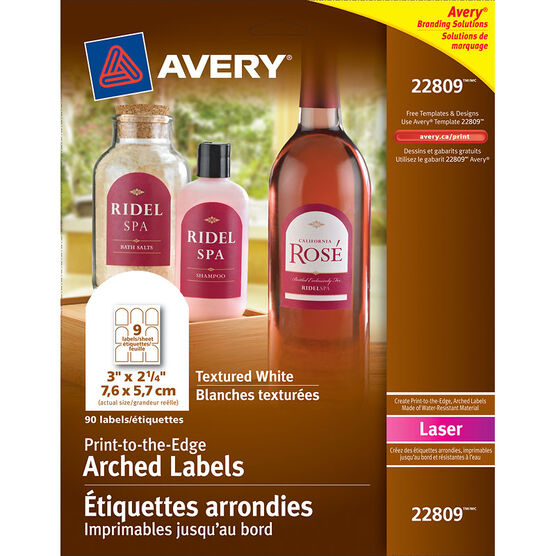Avery Print-to-the Edge Textured White Arched Labels for Laser Printers - 10 sheets