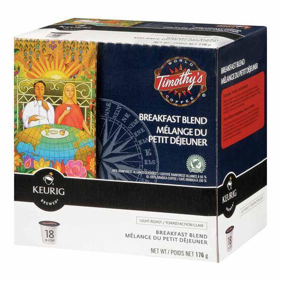 Keurig K-Cup Timothy's Coffee Pods - Breakfast Blend - 18's