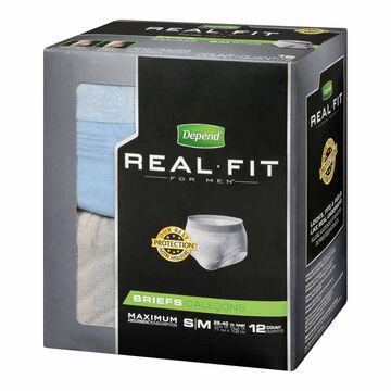 Depend Real Fit Pants For Men - Maximum Absorbency - Small/Medium - 12's