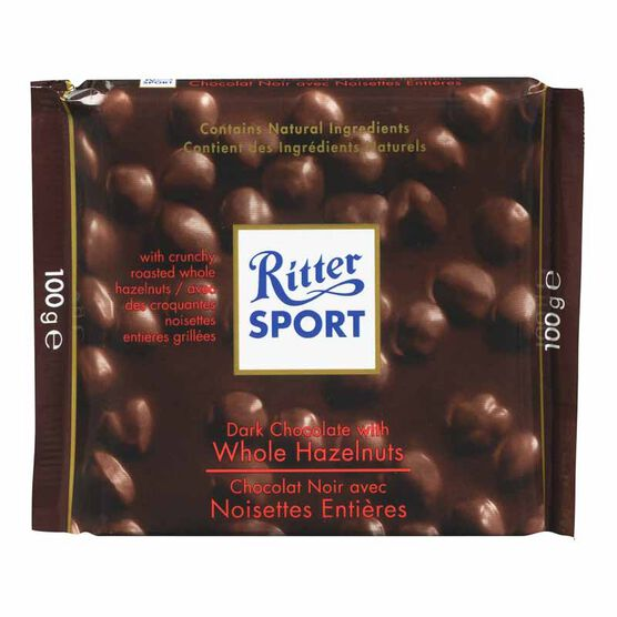 Ritter Sport - Dark Chocolate with Whole Hazelnuts - 100g