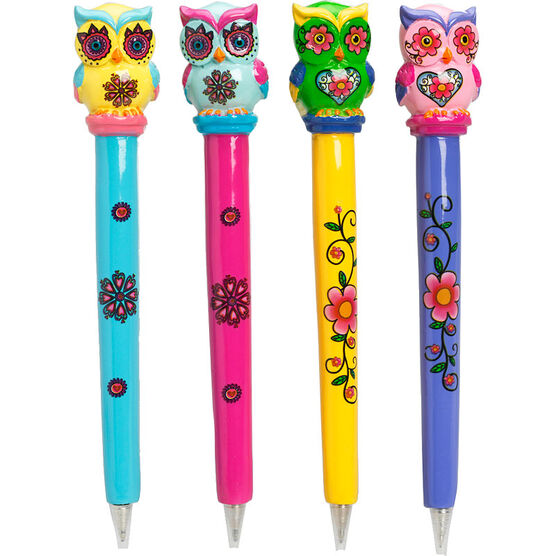 Hand Painted Owl Pens - Assorted